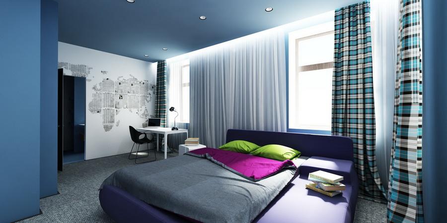 Фото натяжного потолка для спальной комнаты
