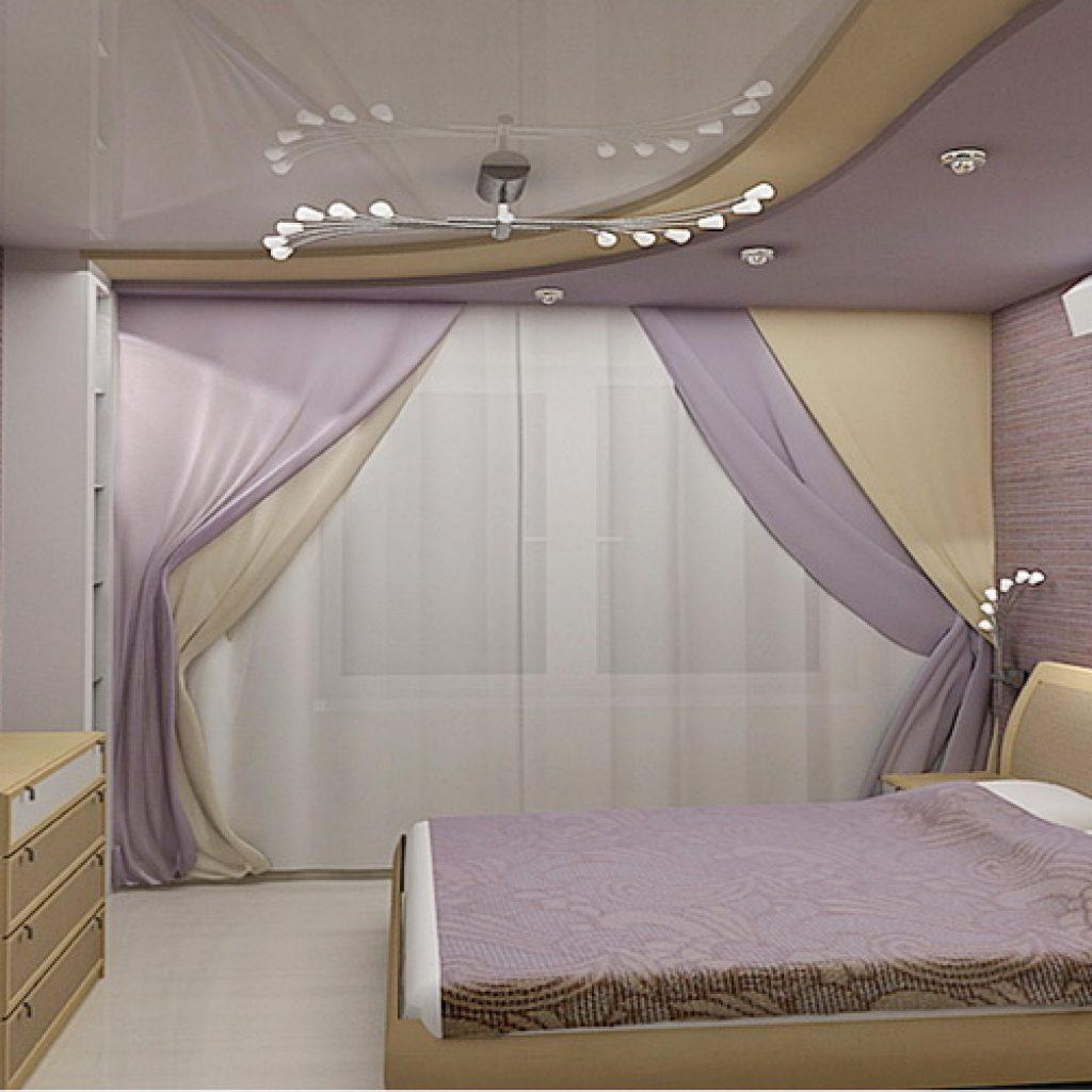 Фото натяжного потолка в спалне