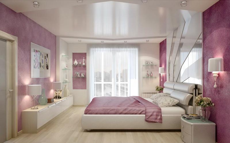 Фото натяжного потолка в спальне (3)