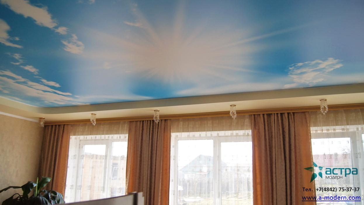 Фотография натяжного потолка с фотопечатью небо
