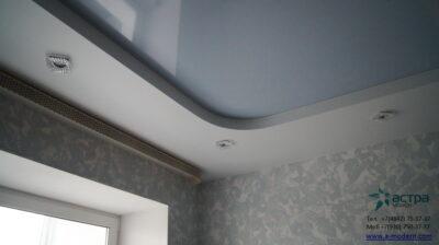 фото многоуровнего серого натяжного потолка