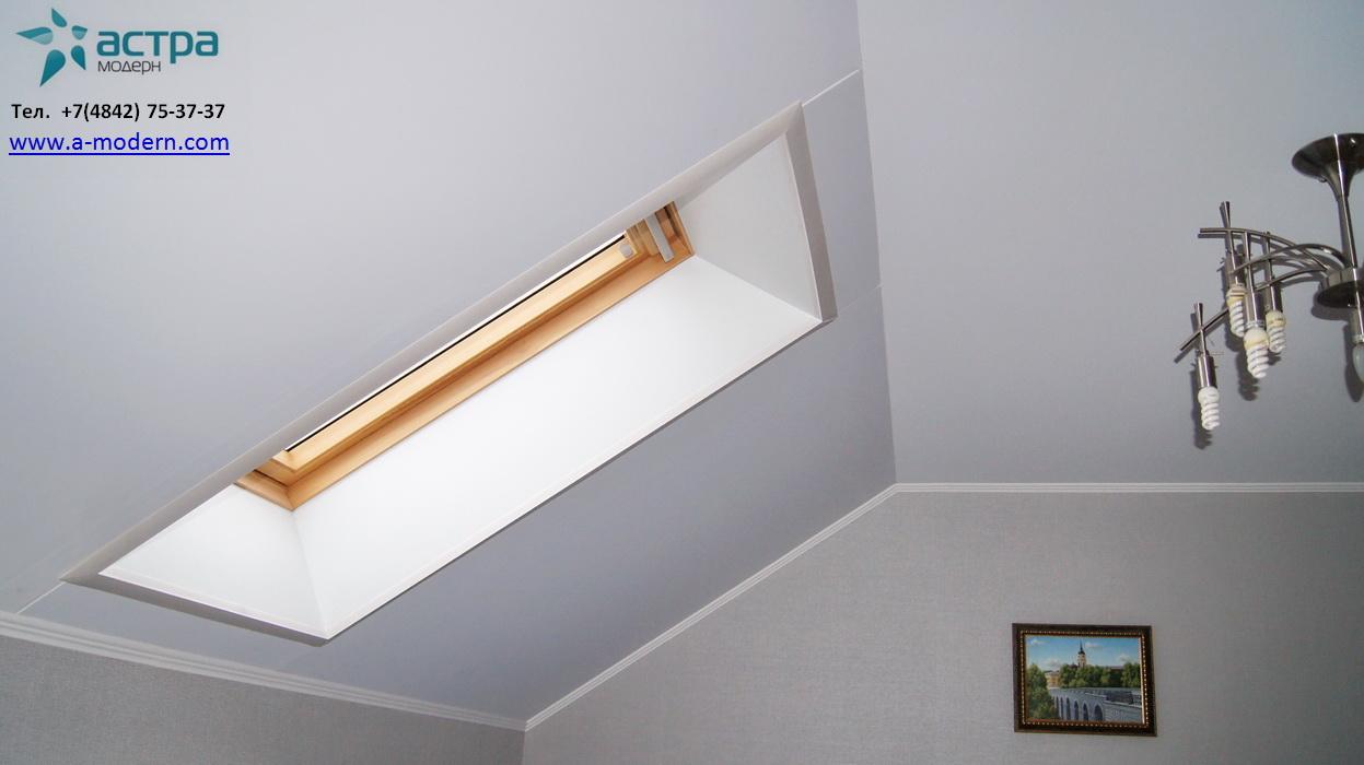 Тканевый натяжной потолок на мансарде