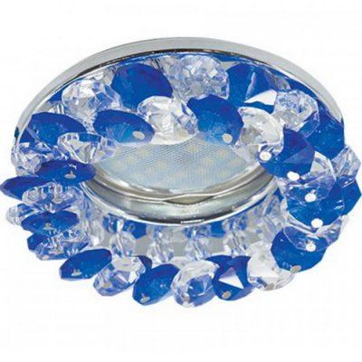 Светильник Ecola MR16 GU5.3 круглый с хрусталиками Голубой-Хром