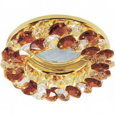 Светильник Ecola MR16 GU5.3 круглый с хрусталиками Янтарь-Золото