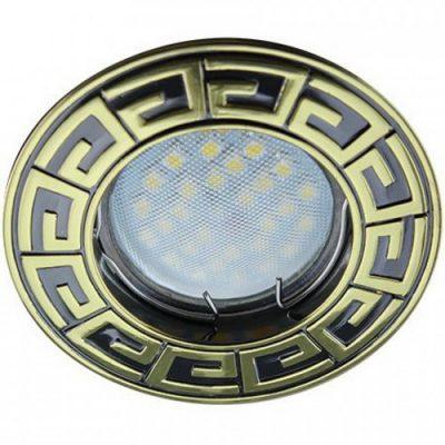 Светильник Ecola MR16 GU5.3 встр. литой Антик Черный хром Золото