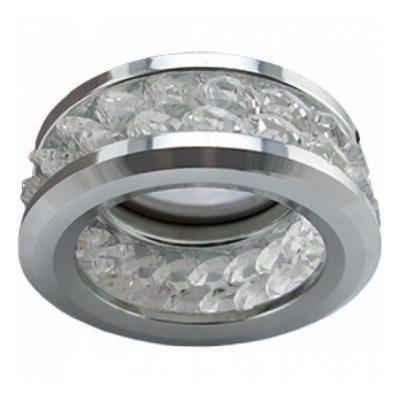 Светильник Ecola MR16 круглый с хрусталиками и ободком (2 ряд). Хром
