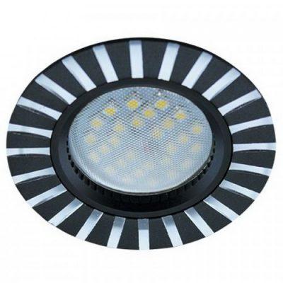 Светильник Ecola MR16 GU5.3 встр. литой. Полоски. ЧерныйАлюминий