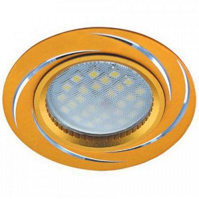 Светильник Ecola MR16 GU5.3 встр. литой. Вихрь. ЗолотоАлюминий
