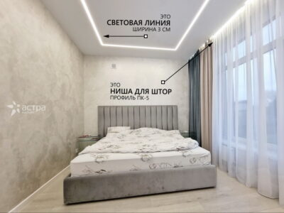 Натяжной потолок в спалне с подсветкой 1-1