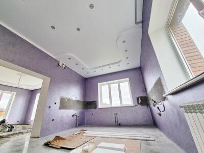 Многоуровневый натяжной потолок на кухне 1-2